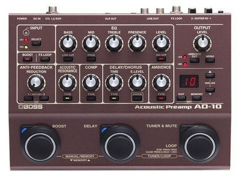 BOSS AD-10 ACOUSTIC PREAMP | Zoso Music