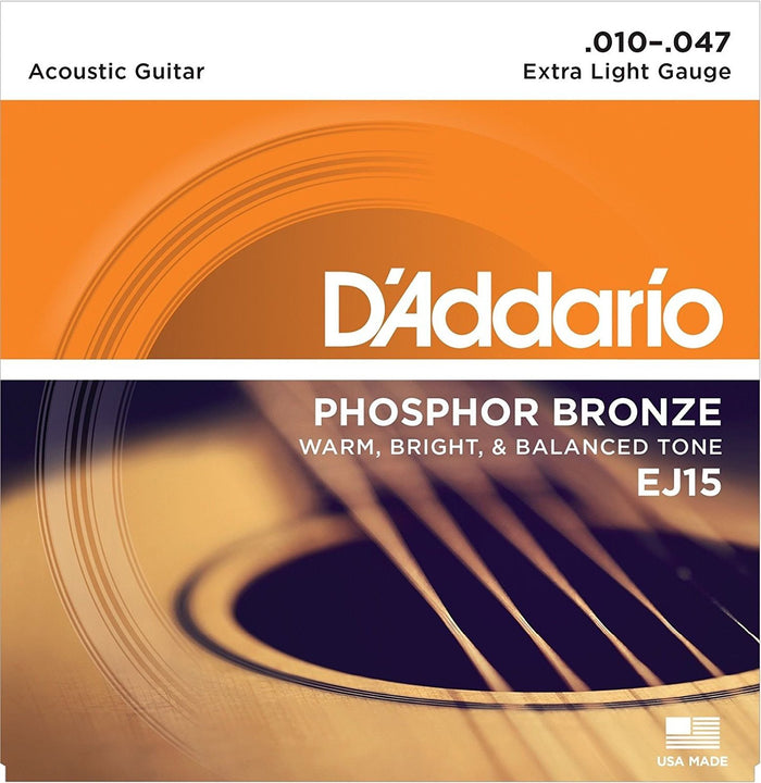 D'ADDARIO EJ15 PHOSPHOR BRONZE ACOUSTIC GUITAR STRINGS, EXTRA LIGHT (.010-.047)