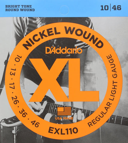 D'ADDARIO EXL110 NICKEL WOUND ELECTRIC GUITAR STRINGS, REGULAR LIGHT (.010-.046) | Zoso Music