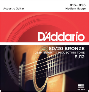 D'ADDARIO EJ12 80/20 BRONZE ACOUSTIC GUITAR STRINGS, MEDIUM, 13-56 | Zoso Music