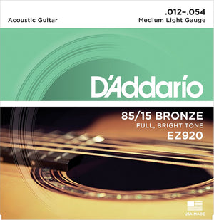 D'ADDARIO EZ920 85/15 BRONZE MEDIUM LIGHT ACOUSTIC GUITAR STRINGS | Zoso Music