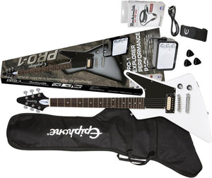 EPIPHONE PRO-1 EXPLORER PERFORMANCE PACK ELECTRIC GUITAR, ALPINE WHITE | Zoso Music