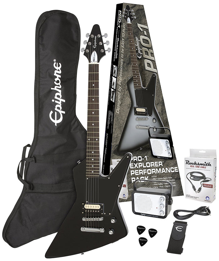 EPIPHONE PRO-1 EXPLORER PERFORMANCE PACK ELECTRIC GUITAR, EBONY