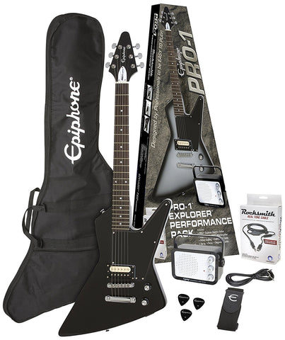 EPIPHONE PRO-1 EXPLORER PERFORMANCE PACK ELECTRIC GUITAR, EBONY | Zoso Music