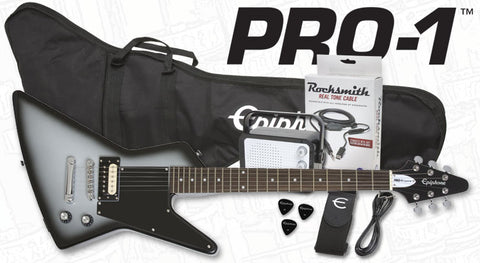 EPIPHONE PRO-1 EXPLORER PERFORMANCE PACK ELECTRIC GUITAR, SILVERBURST | Zoso Music