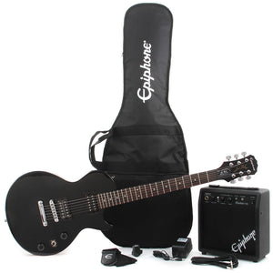 EPIPHONE LES PAUL ELECTRIC GUITAR PLAYER PACK, EBONY WITHOUT AMPLIFIER | Zoso Music