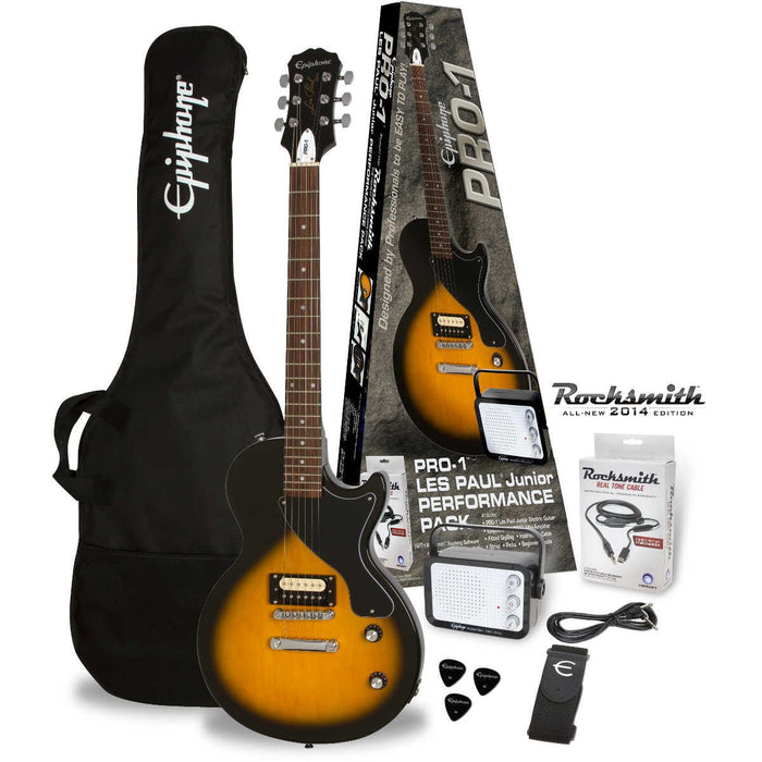 EPIPHONE PRO-1 LES PAUL JR PERFORMANCE PACK ELECTRIC GUITAR, VINTAGE SUNBURST