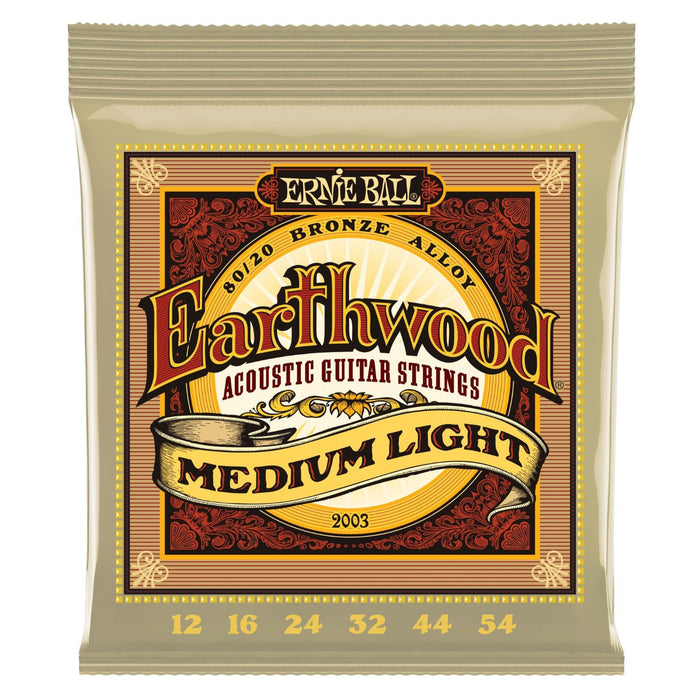 ERNIE BALL 2003 EARTHWOOD MEDIUM LIGHT 80-20 BRONZE ACOUSTIC SET, .012 - .054