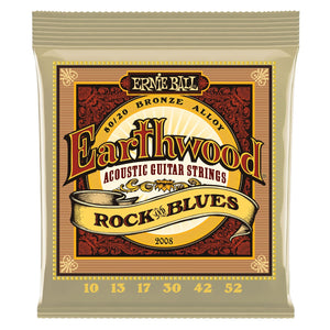 ERNIE BALL 2008 EARTHWOOD ROCK AND BLUES 80-20 BRONZE ACOUSTIC SET WITH PLAIN G, .010 - .052 | Zoso Music