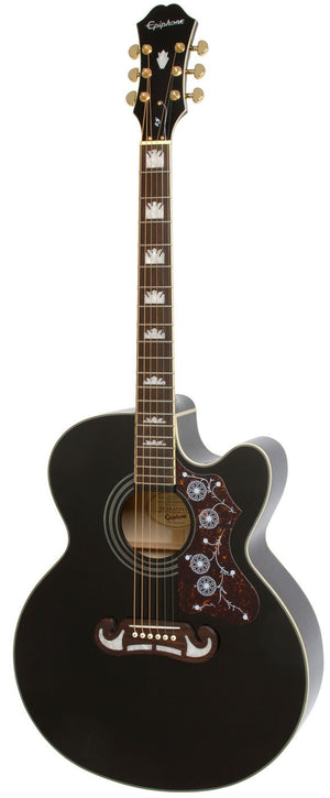 EPIPHONE EJ-200SCE BLACK ACOUSTIC/ELECTRIC GUITAR | Zoso Music