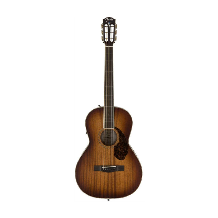 Fender Ltd Ed PM-2E Parlor All-Mahogany Acoustic Guitar w/Electronics, Antique Cognac Burst