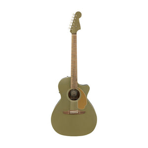 Fender California Newporter Player Medium-Sized Acoustic Guitar, Walnut FB, Olive Satin