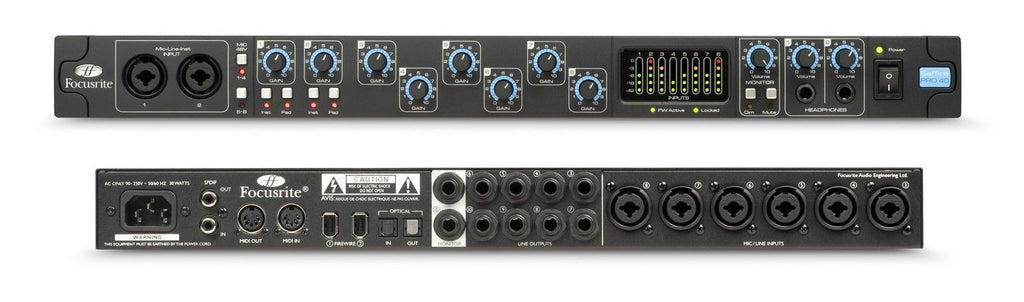 FOCUSRITE SAFFIRE PRO 40 20-IN, 20 OUT FIREWIRE INTERFACE | Zoso Music