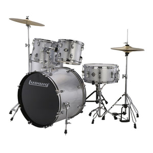 LUDWIG LC17515DIR ACCENT DRIVE 5-PIECE DRUMS SET W/HARDWARE+THRONE+CYMBAL, SILVER FOIL | Zoso Music