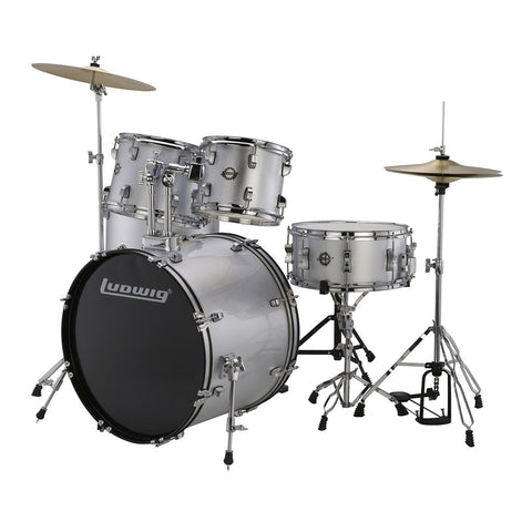 LUDWIG LC17515DIR ACCENT DRIVE 5-PIECE DRUMS SET WITH HARDWARE, THRONE & CYMBAL, SILVER FOIL COLOR | Zoso Music