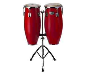 NATAL NGU1011-MCN NATURAL WOOD CONGAS 10 INCH AND 11 INCH CHROME HARDWARE STAND, RED GLOSS | Zoso Music