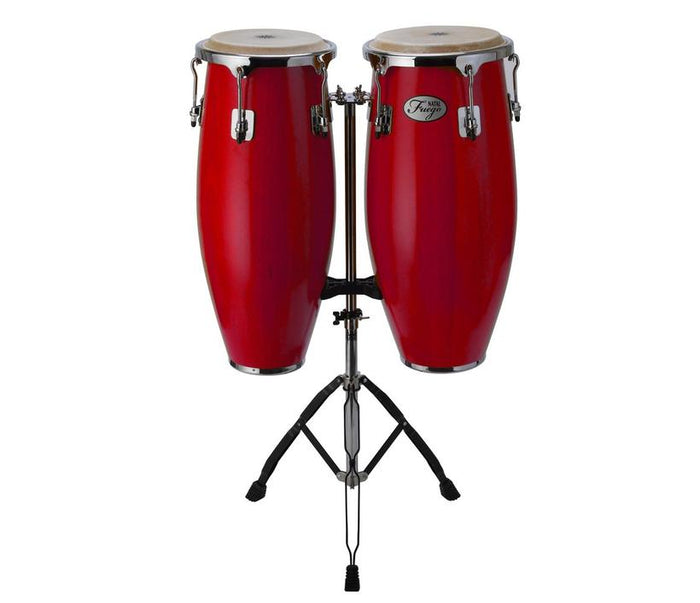 NATAL NGU1011-MCN NATURAL WOOD CONGAS 10 INCH AND 11 INCH CHROME HARDWARE STAND, RED GLOSS