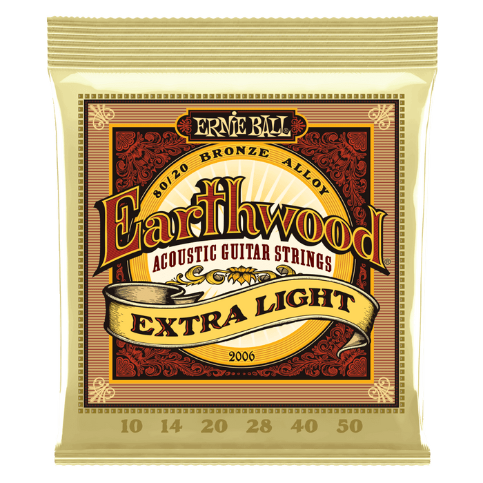 ERNIE BALL 2006 EARTHWOOD EXTRA LIGHT 80-20 BRONZE ACOUSTIC SET, .010 - .050