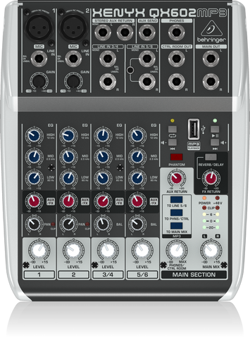 BEHRINGER XENYX QX602MP3 PREMIUM 6-INPUT 2-BUS MIXER WITH XENYX MIC PREAMPS, BRITSH EQs, MP3 PLAYER AND MULTI-FX | Zoso Music
