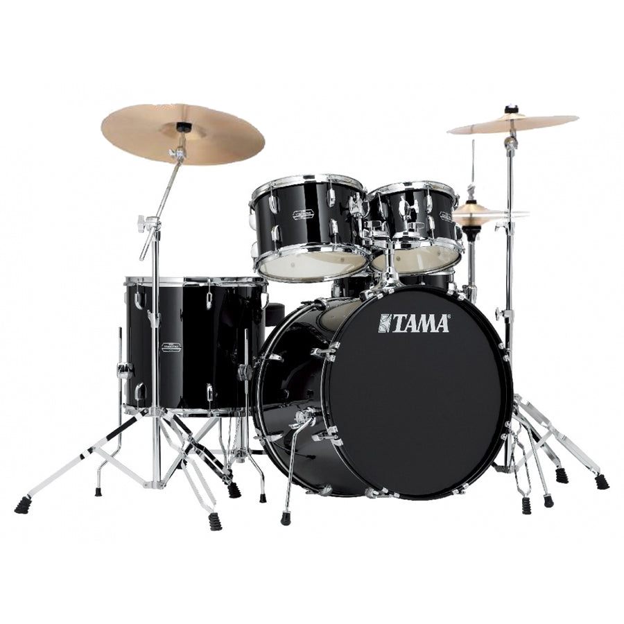 TAMA STAGESTAR SG52KH6 BK BLACK 5 PIECE ACOUSTIC DRUM SET WITH FULL SET HARDWARE PACK (W/O CYMBALS) FREE DRUM THRONE | Zoso Music