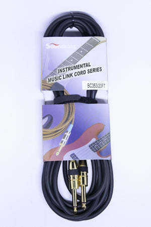 SOUNDKING INSTRUMENT CABLE 20-FEET, BLACK, GOLD CONNECTOR BC353/20FT | Zoso Music