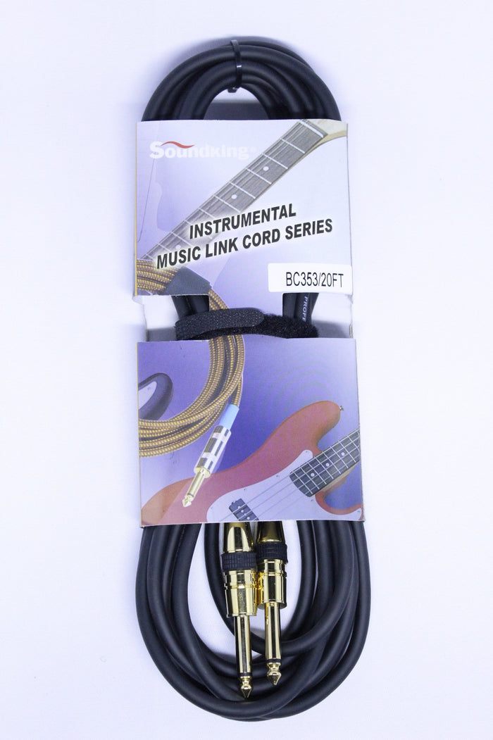 SOUNDKING INSTRUMENT CABLE 20-FEET, BLACK, GOLD CONNECTOR BC353/20FT