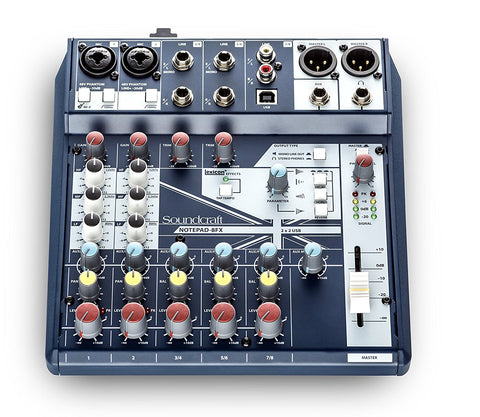 SOUNDCRAFT SMALL-FORMAT 8-CHANNEL ANALOG MIXING CONSOLE WITH USB I/O AND LEXICON EFFECTS | Zoso Music