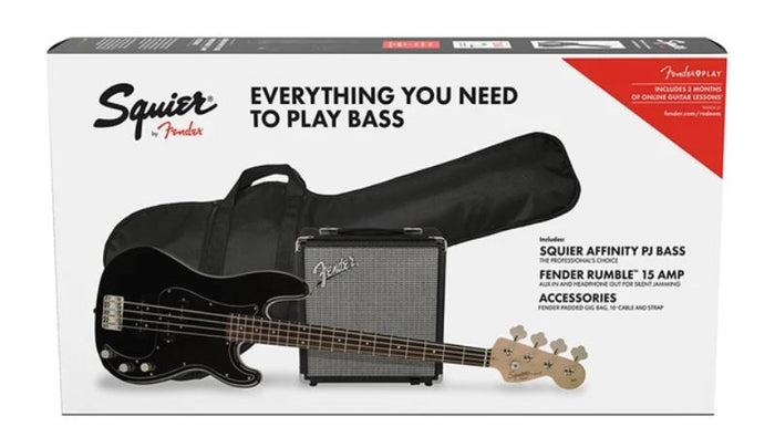 Squier Affinity Series Precision PJ Bass Guitar Pack W/Rumble 15 Amplifier, Black, 230V Uk