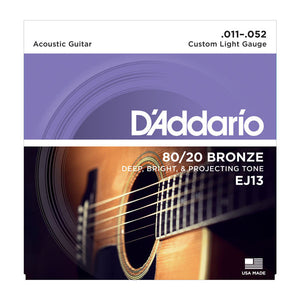 D'ADDARIO EJ13 80/20 BRONZE ACOUSTIC GUITAR STRING, CUSTOM LIGHT 11-52 | Zoso Music