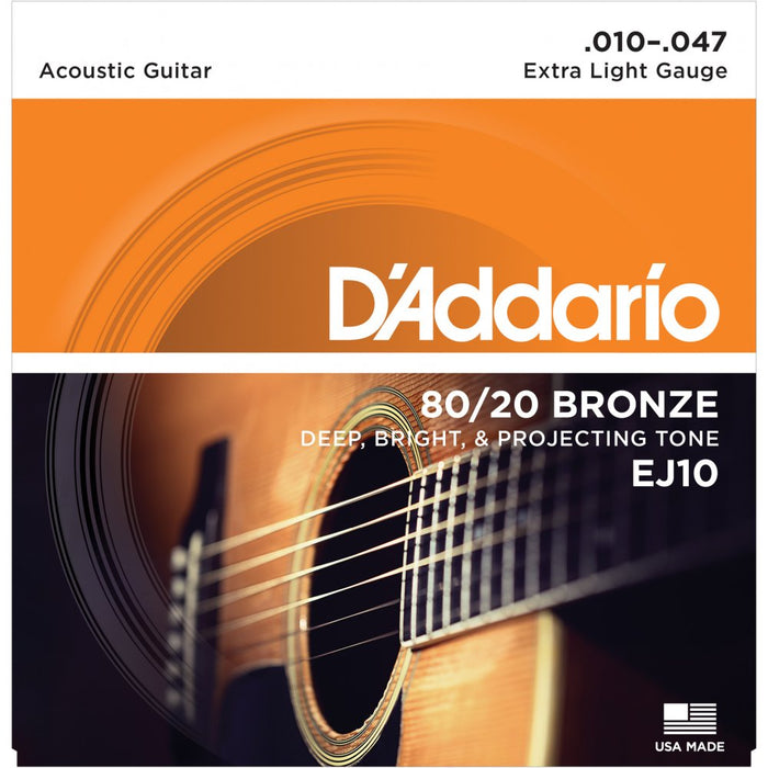 D'ADDARIO EJ10 80/20 BRONZE ACOUSTIC GUITAR STRINGS, EXTRA LIGHT (.010-.047)
