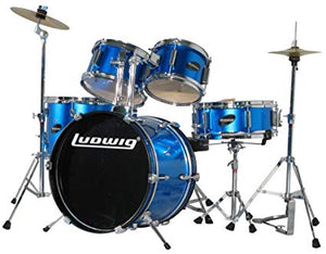 LUDWIG LJR1062DIR 5-PIECE JUNIOR DRUM KIT W/ HARDWARE+THRONE+CYMBAL, BLUE | Zoso Music