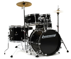 LUDWIG LJR1061DIR 5-PIECE JUNIOR DRUM KIT W/ HARDWARE+THRONE+CYMBAL, BLACK | Zoso Music