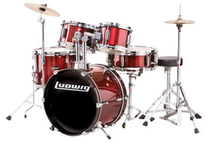 LUDWIG LJR1064DIR 5-PIECE JUNIOR DRUM KIT W/ HARDWARE+THRONE+CYMBAL, WINE RED | Zoso Music
