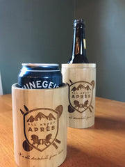 All About Apres Woodster Beer Coozie
