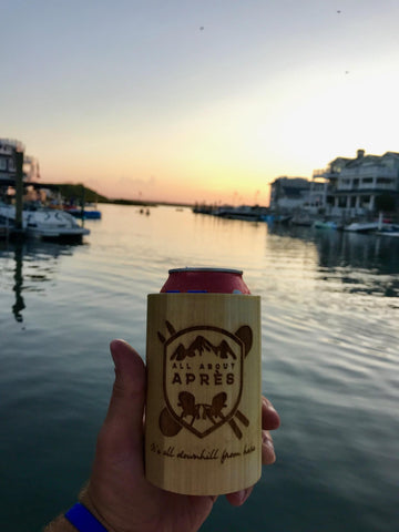 All About Apres Wooden Koozie