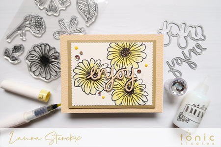 How to Create Inlaid Watercolour Die Cuts with Tonic Studios Perfect Petunia Stamp Set – Laura Sterckx