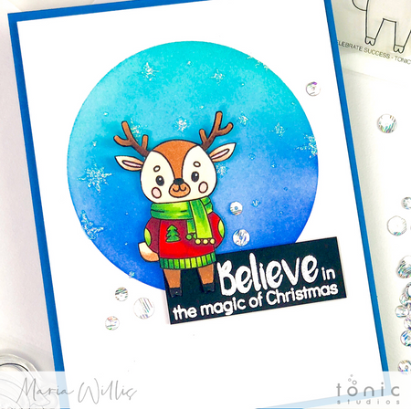 Sparkly Stencilled Background and Christmas Magic