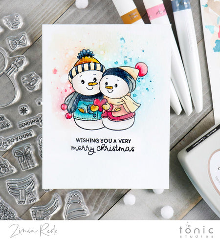 Holiday Watercolor Card using Snowman Snuggles Stamp Set