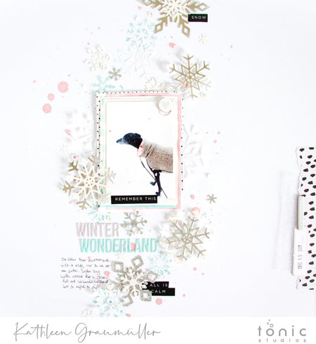Snowflake Layout Inspiration with Glitter Card and Glacier Paste