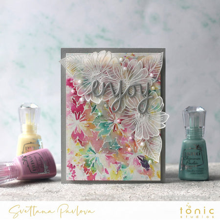 Vellum Flowers and Nuvo Shimmer Powders with Svetlana