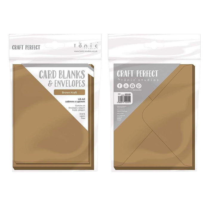 Craft Perfect Card Blanks & Envelopes Craft Perfect - 10 Card Blanks & Envelopes - Kraft Card - A2 - 9255e