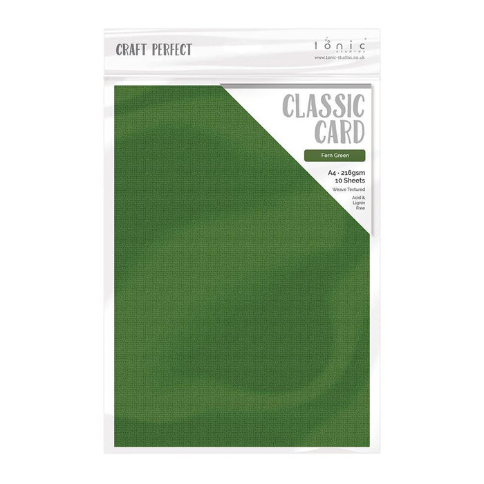 Craft Perfect Classic Card Craft Perfect - Classic Card  - Fern Green - Weave Textured - A4- 10 Pack - 9037E