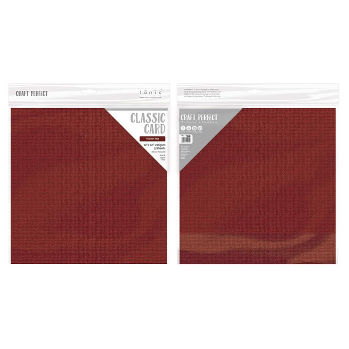 "Craft Perfect Classic Card Craft Perfect - Classic Card - Maroon Red - Weave Textured - 12"" x 12"" (5/Pk) - 9198e"