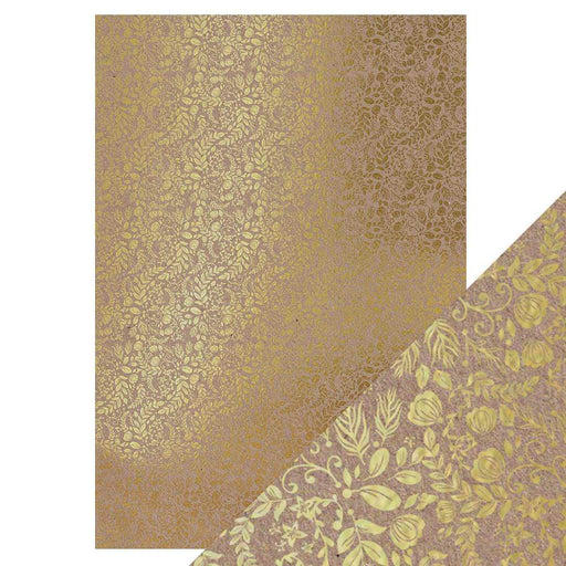 Craft Perfect Foiled Kraft Card Craft Perfect - Foiled Kraft Card - Golden Blossom - A4 (5/pk) - 9341e