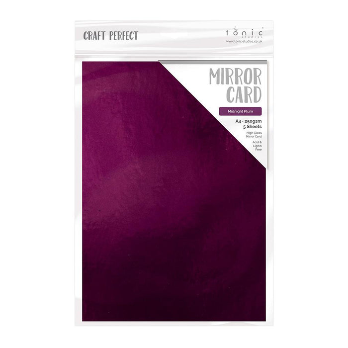 Craft Perfect Mirror Card Craft Perfect - Mirror Card - High Gloss - Midnight Plum - A4 (5/PK) - 9445e
