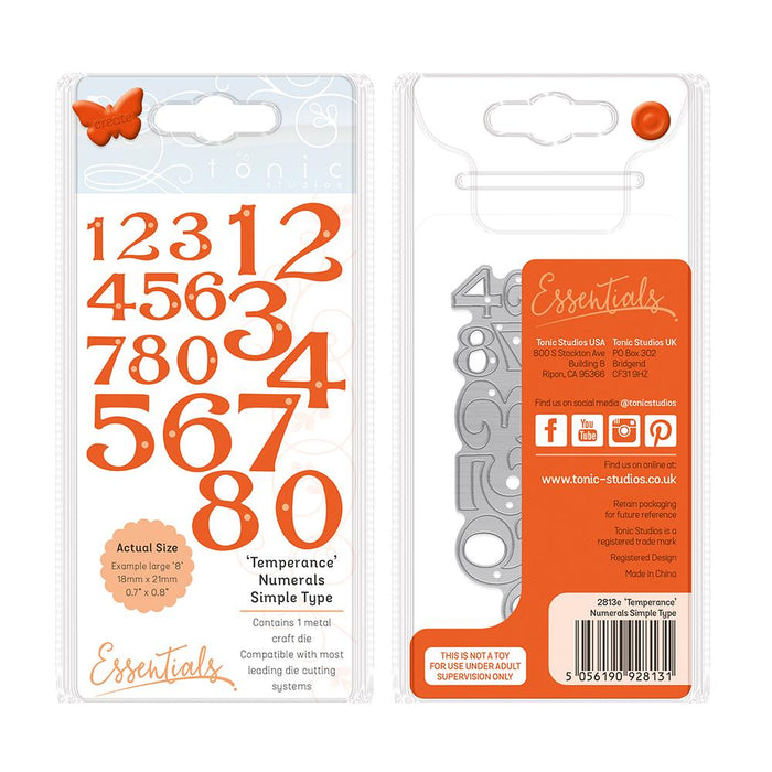 Tonic Studios Essentials Tonic Studios - Alphabets and Numbers - Temperance' Simple Numbers - 2813E