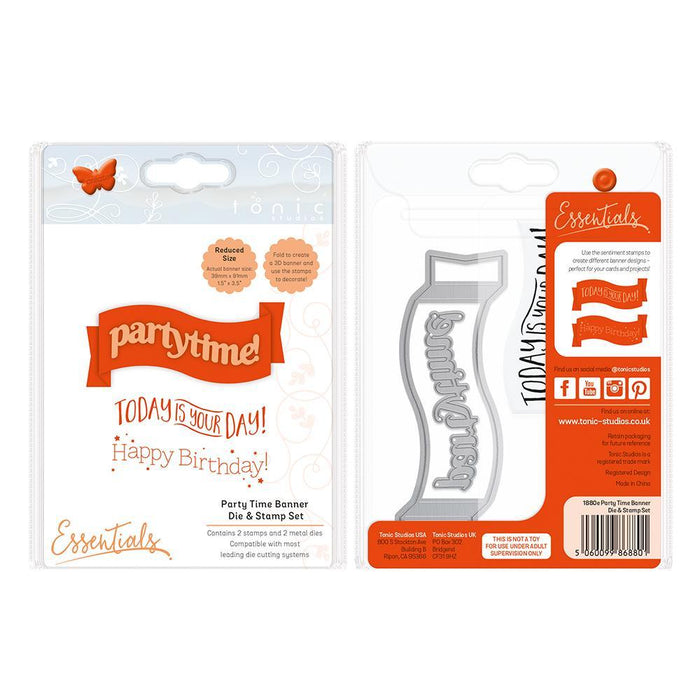 Tonic Studios Essentials Tonic Studios - Banner Die & Stamp Set - Party Time - 1880E