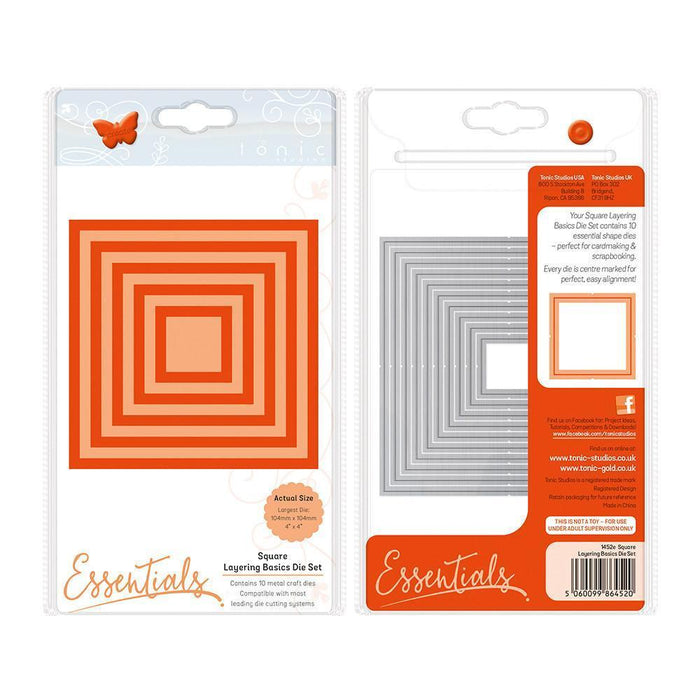 Tonic Studios Essentials Tonic Studios - Essentials - A2 Layering Basics Squares Die Set - 1452e