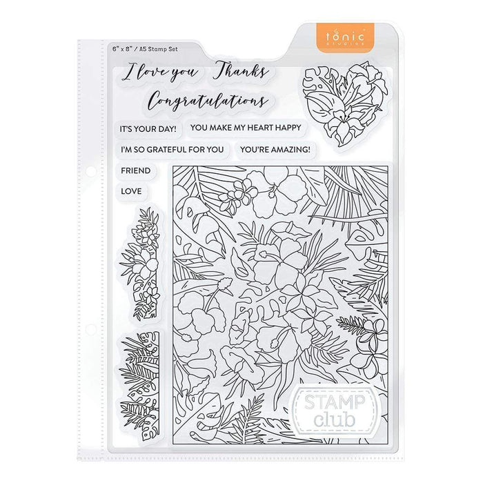 Tonic Studios Stamp Club Stamp Club - Happy Hibiscus - Stamp & Die Set - SC03