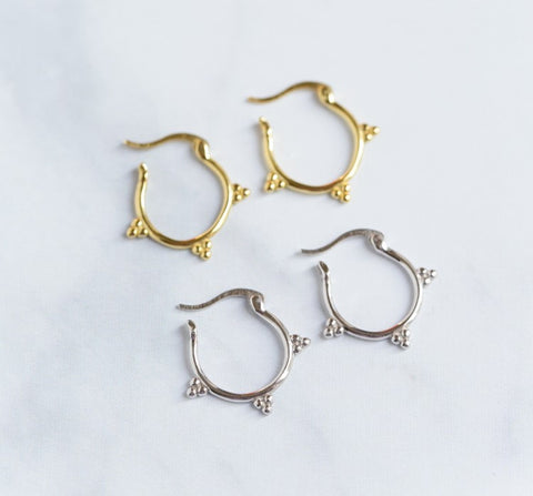 Gold and silver Huggie Earrings